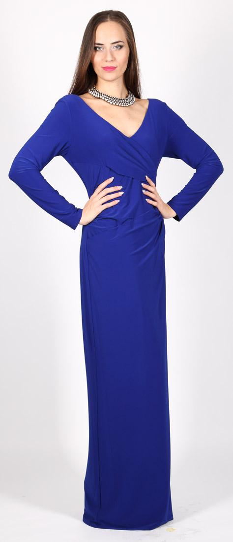 Elegantné modré šaty s dlhým rukávom z elastánu - nariasené