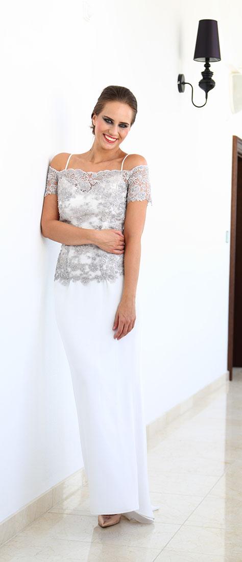 Dvojdielne biele šaty na ramienka a vyšívaným šedým krajkovým topom