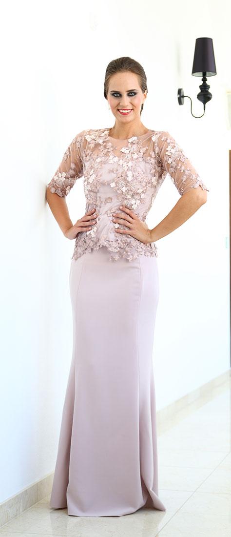 Dvojdielne fialové šaty s vyšívanou krajkou a rukávom, úzkou sukňou