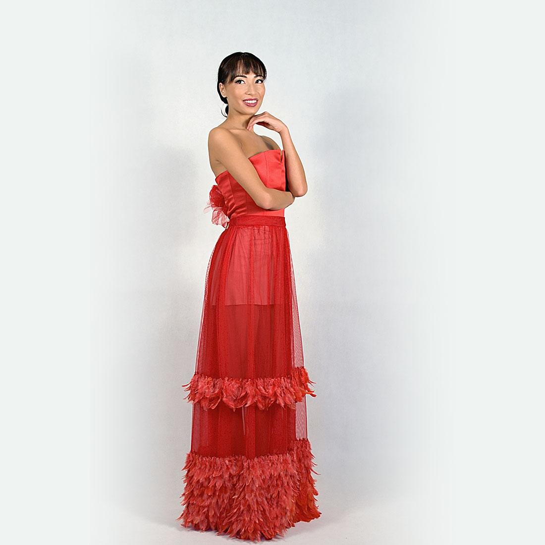04767892bac9 Dvojdielne červené šaty s korzetom a tylovou sukňou