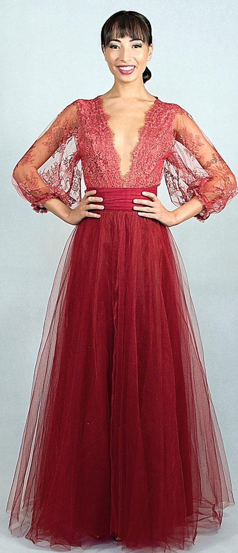 Dvojdielne šaty s tylovou sukňou a krajkovým vrchom