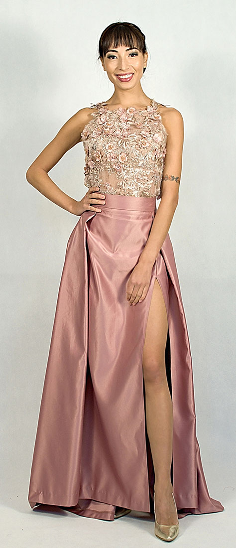 8eb7cd010c93 Dvojdielne šaty so saténovou sukňou s rozparkom a krajkovým vrchom bez  rukávov