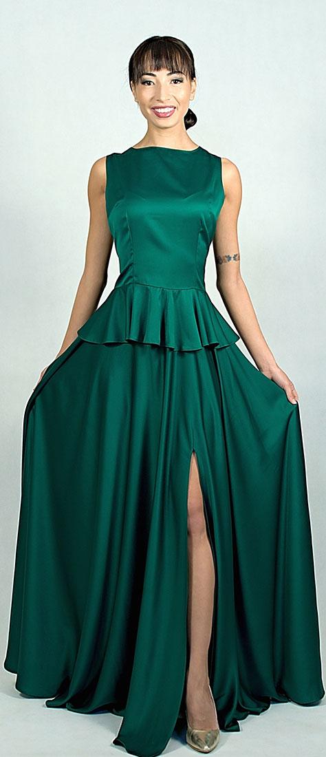 Dvojdielne šaty so smaragdovým saténom a kruhovou sukňou