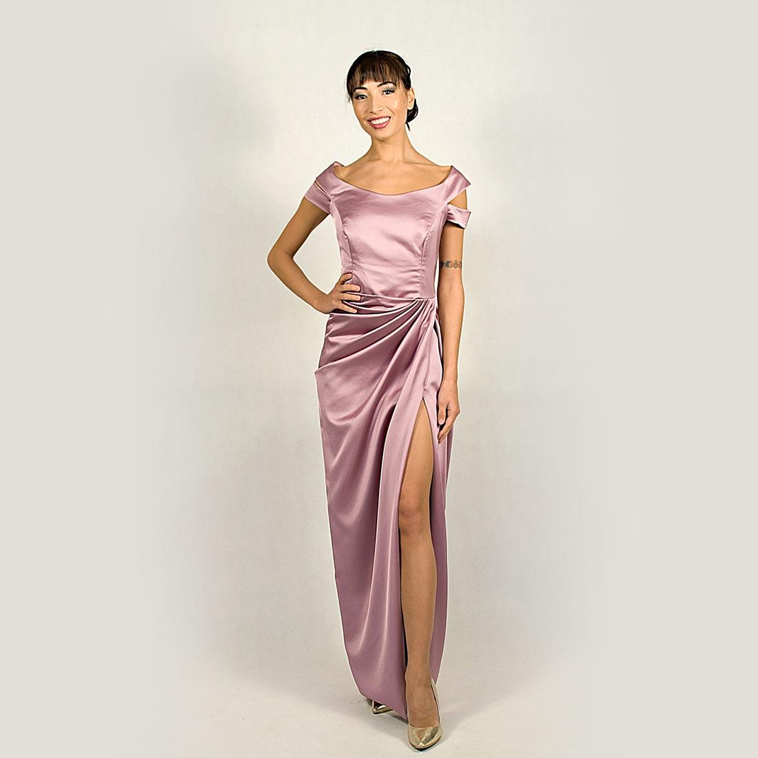 e739e88b8016 Saténové korzetové šaty s rozparkom