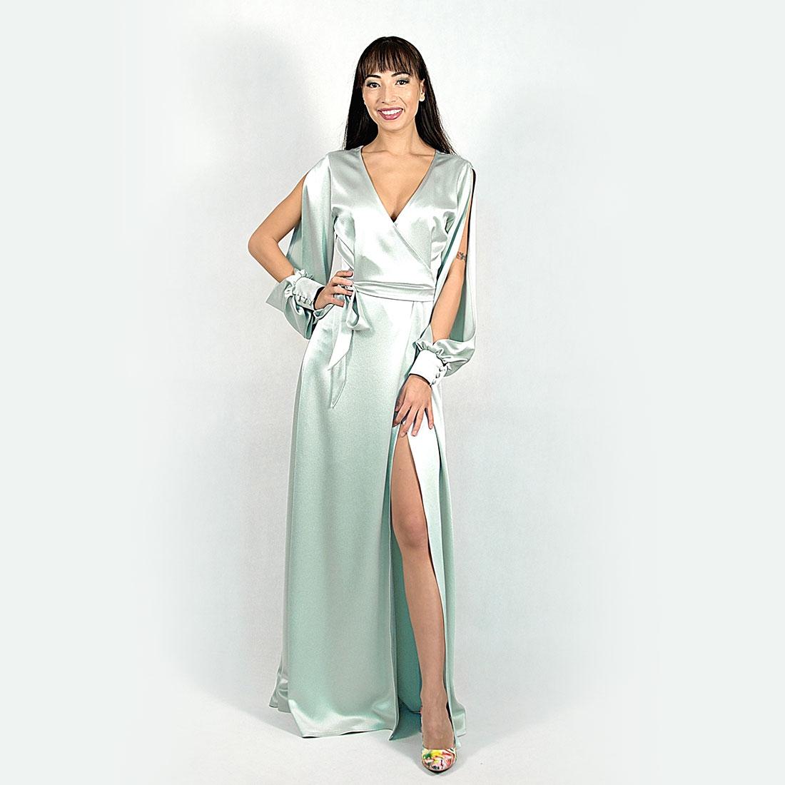 a1f0d51dadcb Saténové zavinovacie šaty s dlhým rukávom