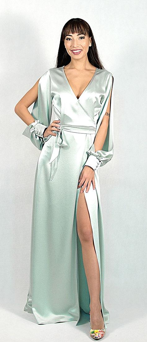 Saténové zavinovacie šaty s dlhým rukávom