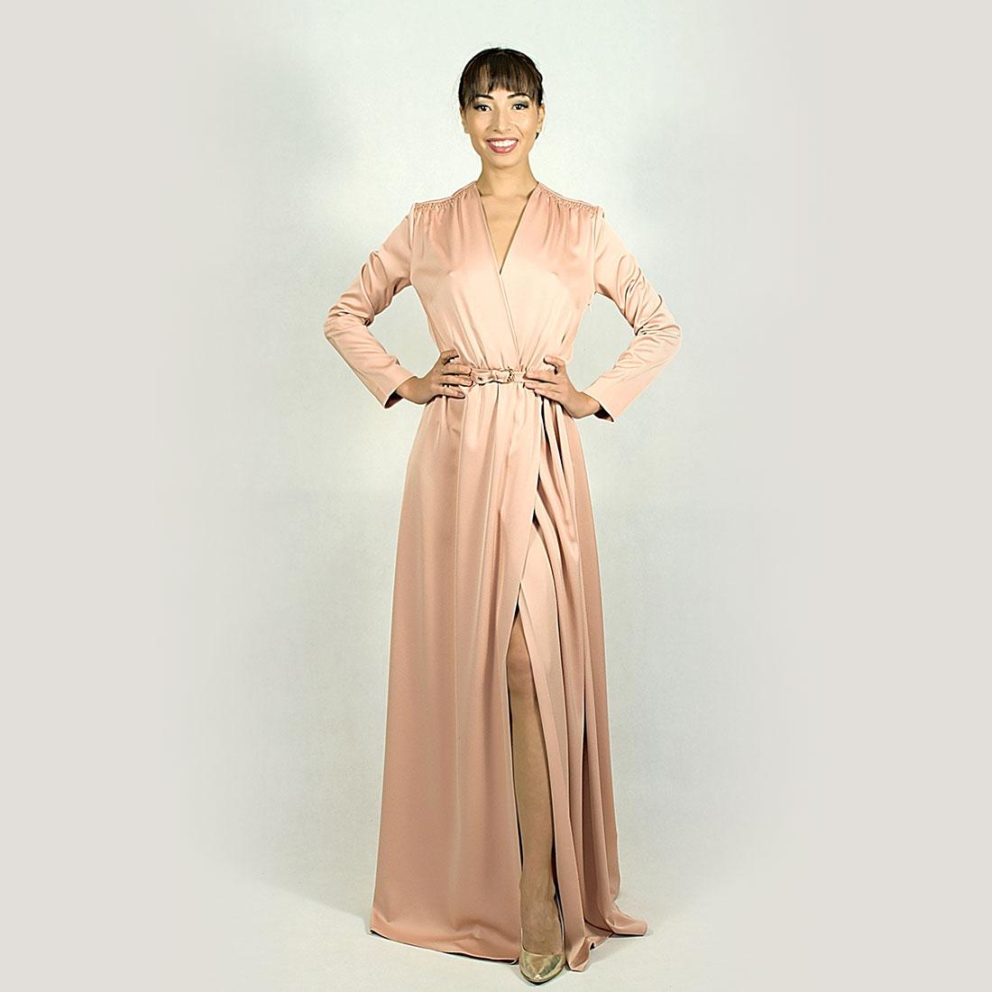 4bbf978f3bfe Zavinovacie marhuľové šaty s dlhým rukávom s rozparkom