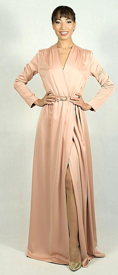Zavinovacie marhuľové šaty s dlhým rukávom s rozparkom